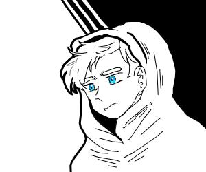 Upset blue-eyed boy in a cloak