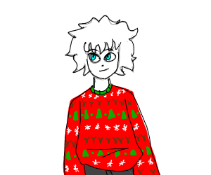 Person in a big fuzzy Christmas sweater