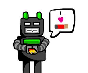 robot loves batteries