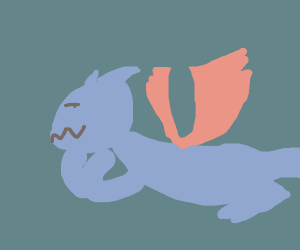 a smug blue dragon with red wings