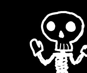 Skeleton wearing Gloves