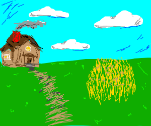 lonely house on a field