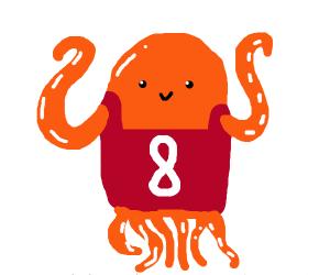 Orange octopus wearing 8 jersey