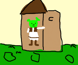 Shrek rips door off outhouse.