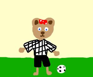 Soccer ref is a cute bear