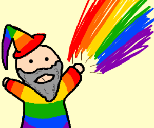 A rainbow wizard is shooting rainbow