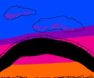 Sunset above a brige