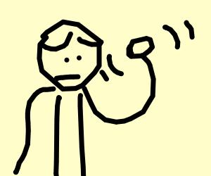 Worried man says hi while raising arm