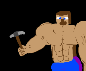 minecraft steve with stone picaxe