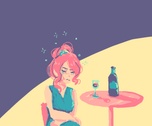 woman is drunk and sad on wine