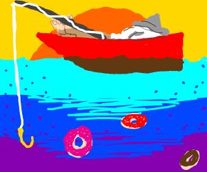 Man fishing for donut
