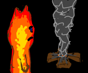 Fireboy mourns the death of campfire