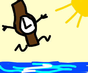 A Watch jumping over a River