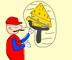 Mario talking about slicing Cheese