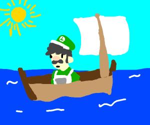 Luigi sailing in a boat