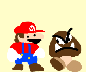 Romanian mario is chatting with an ugly gomba