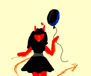 Demon girl likes balloons.