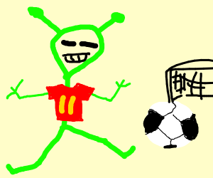 Alien playing football