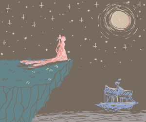 Stargazing on a cliff under the moonlight