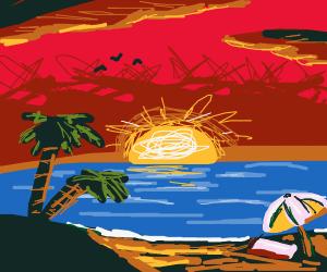 Island Beach during a red dawn