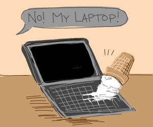 Someone spilled ice cream on their laptop