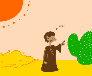An elf said ow after touching a cactus