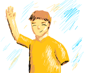 a guy with one arm and yellow t-shirt