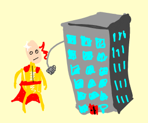 One Punch Man being Punched by a building