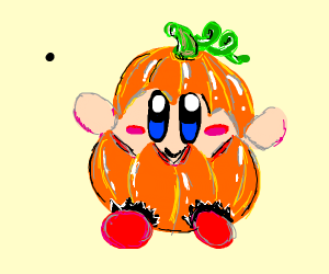 kirby dressed up as a pumpkin for halloween
