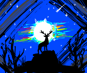 Black and White Deer looking At Moon