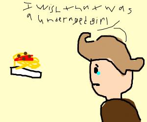 Paedophile looking at spaghetti