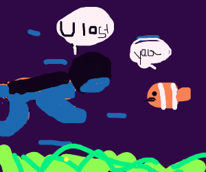 man talking to nemo
