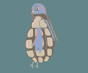 Bird in a grenade costume