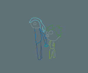 Green haired man licking blue haired girl