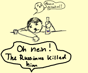 hitler dies from alcohol poisoning