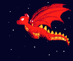 dragon in the sky with stars