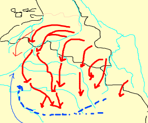 Map showing battle plans