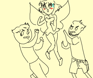 2 guys fight over fairy waifu