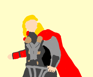 Thor wielding stop sign