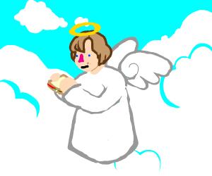 an angel eating