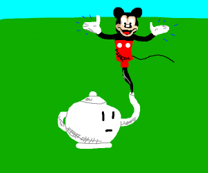 Mickey Mouse in a teapot