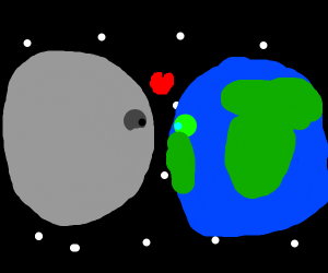 Intimate moment between the moon and earth.