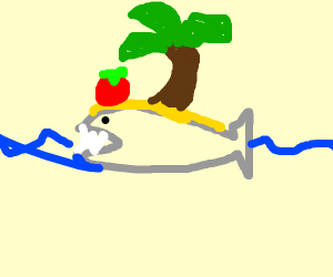 tomato on an island shark in water