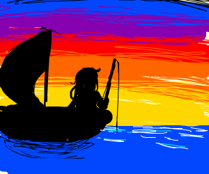 Woman fishing in front of a sunset.