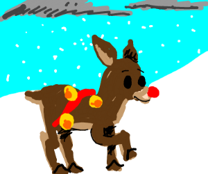 Rudolph playing in the snow
