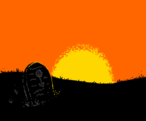 daisy's grave in the beautiful sunset