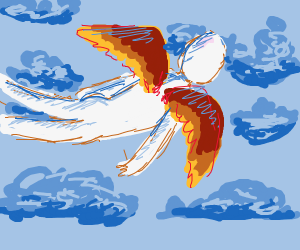 Bald man with wings