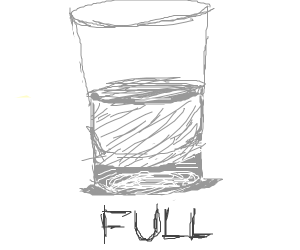 the water is half full but says its full