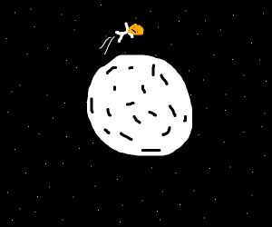 A baghead jumping over the moon