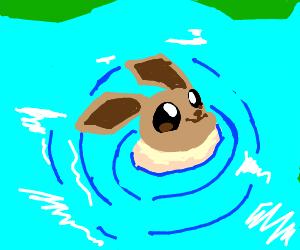Eevee swimming underwater